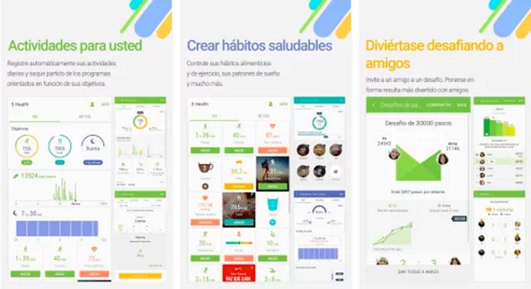 Interfaz gráfica de la app S Health