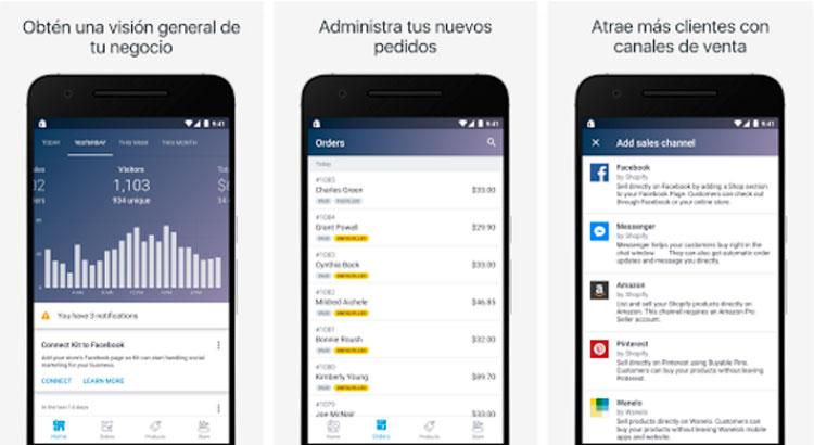 Interfaz gráfica de la app Shopify