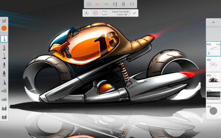 Interfaz gráfica de la app Autodesk Sketchbook