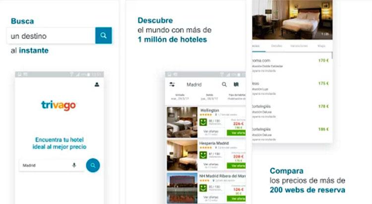 Interfaz gráfica de la app Trivago