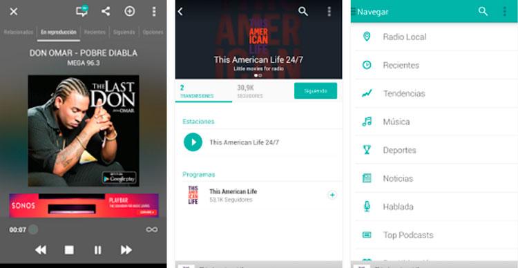 Interfaz gráfica de la app TuneIn Radio