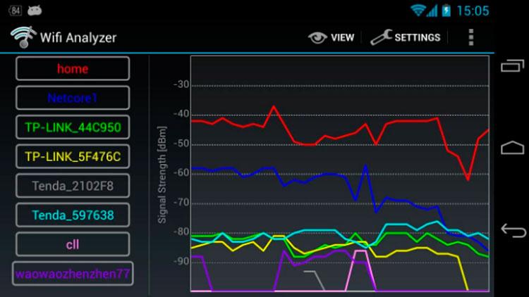 Interfaz gráfica de la app WiFi Analyzer