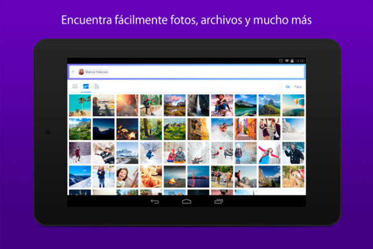 Interfaz gráfica de la app Yahoo Mail