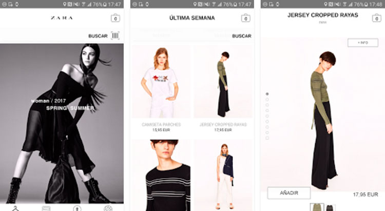Interfaz gráfica de la app Zara