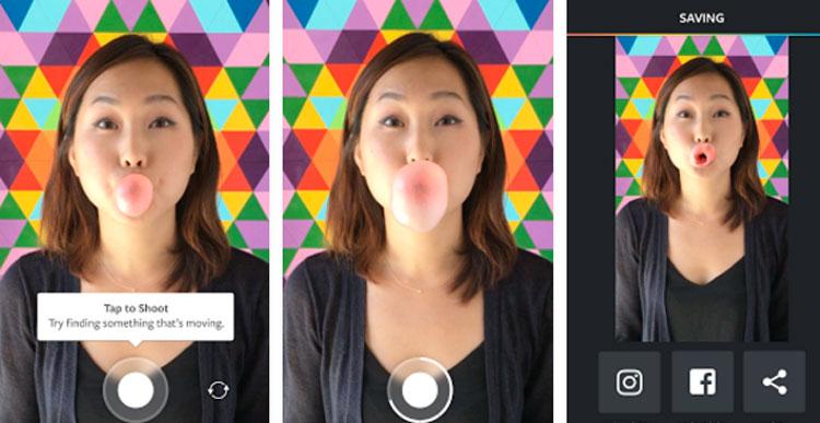 Interfaz gráfica de la app Boomerang de Instagram