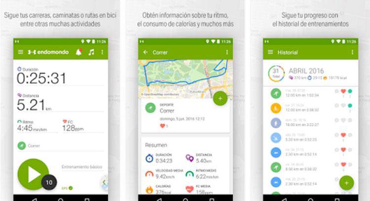 Imagen donde podemos ver cómo es la interfaz de la aplicación Endomondo.