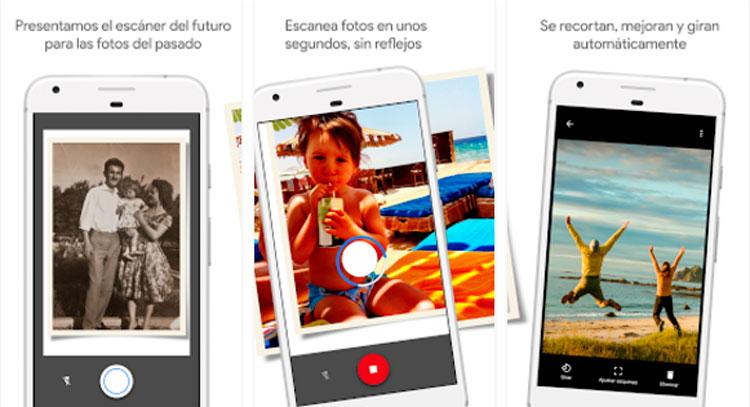 Interfaz gráfica de la app FotoScan de Google Fotos