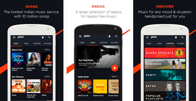 Interfaz gráfica de la app Gaana: Bollywood Music & Radio