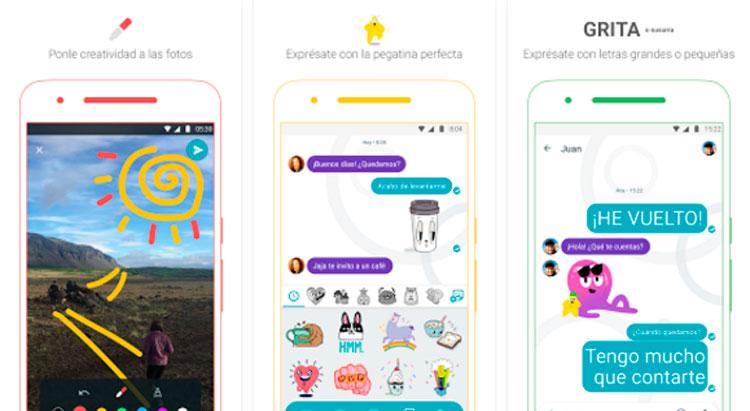 Interfaz gráfica de la app Google Allo