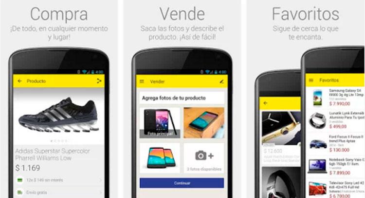 Interfaz de la app de Mercado Libre