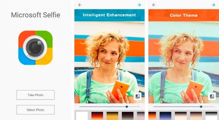 Interfaz gráfica de la app Microsoft Selfie