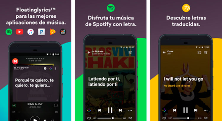 Interfaz gráfica de la app Musixmatch Music Player Letras