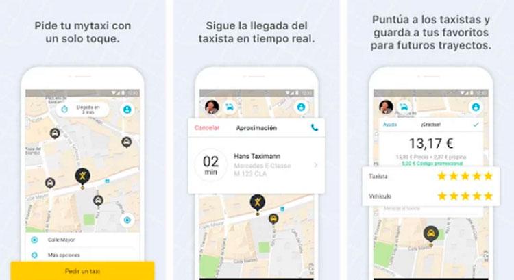 Interfaz gráfica de la app MyTaxi