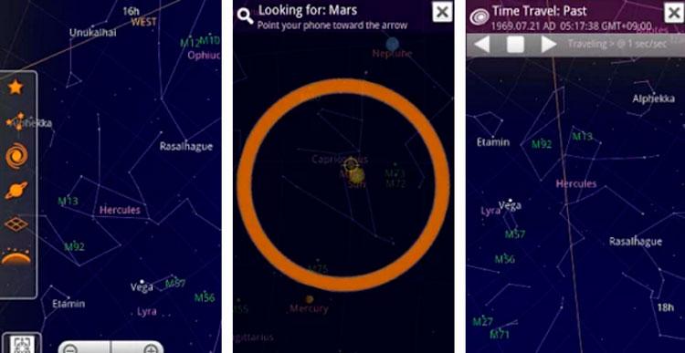 Interfaz gráfica de la app Sky Map