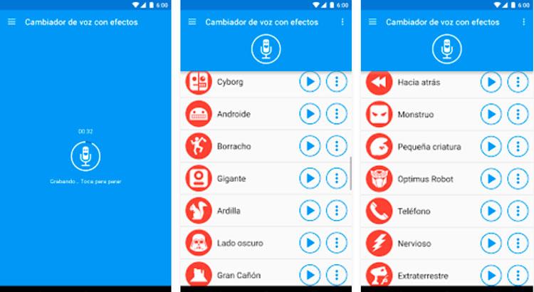 Interfaz gráfica de la app Cambiador de Voz