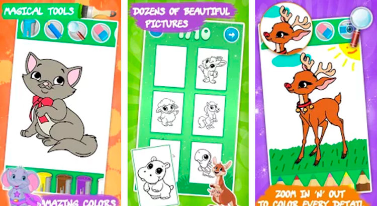 Interfaz gráfica de la app Dibujo para niños: animales