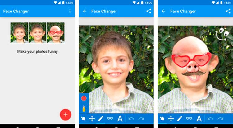 Interfaz gráfica de la app Face Changer