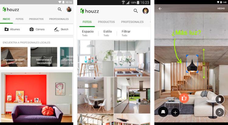 Interfaz gráfica de la app Houzz