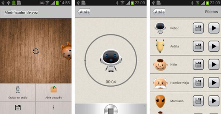 Interfaz gráfica de la app Modificador de voz