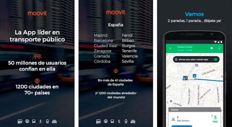 Interfaz gráfica de la app Moovit