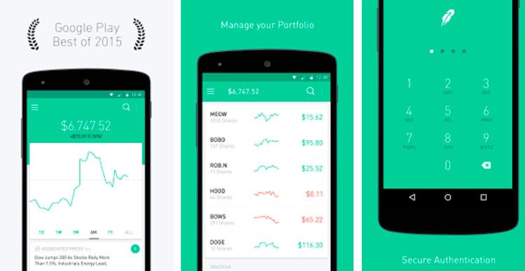 Interfaz gráfica de la app Robinhood
