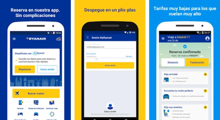 Interfaz gráfica de la app Ryanair