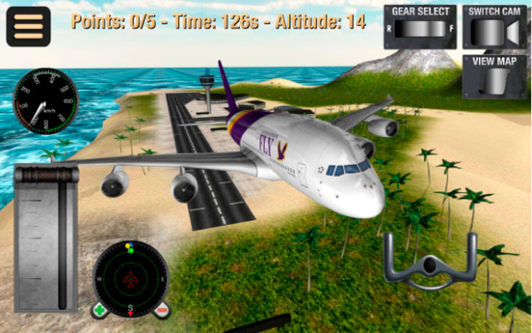Interfaz gráfica del juego Simulador vuelo