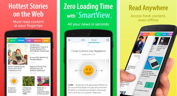 Interfaz gráfica de la app SmartNews