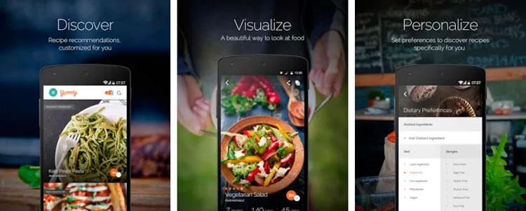 Interfaz gráfica de la app Yummly
