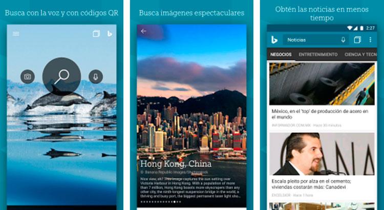 Interfaz gráfica de la app Bing