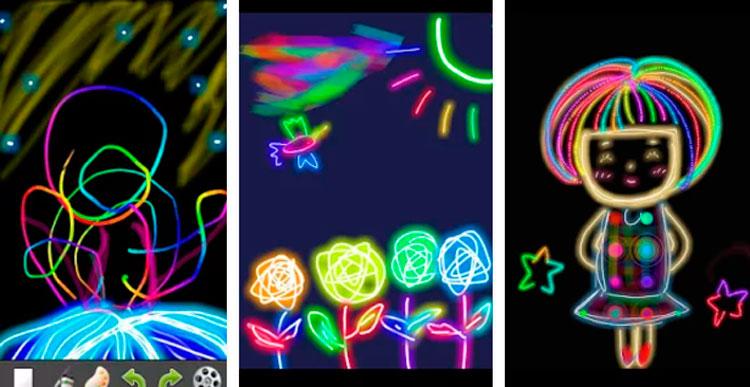Interfaz gráfica de la app Kids Doodle