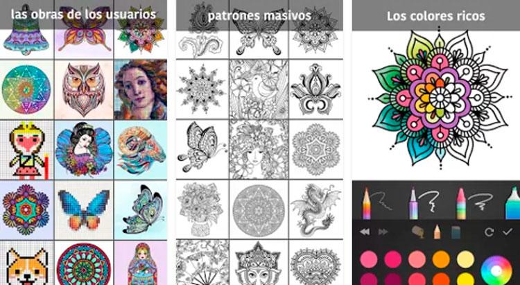 Interfaz gráfica del juego Libro de colorear