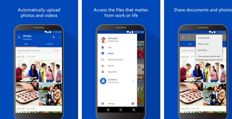 Interfaz gráfica de la app Microsoft OneDrive