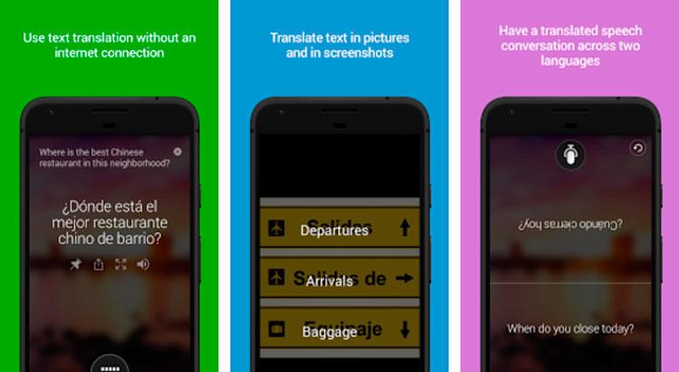 Interfaz gráfica de la app Microsoft Translator