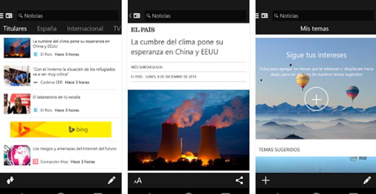 Interfaz de la app de MSN Noticias