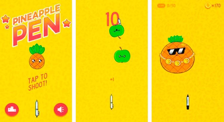 Interfaz gráfica del juego Pineapple Pen