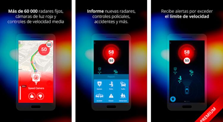 Interfaz gráfica de la app Radares España
