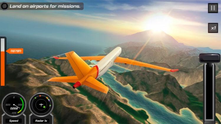 Interfaz gráfica del juego Simulador de Vuelo 3D Gratis