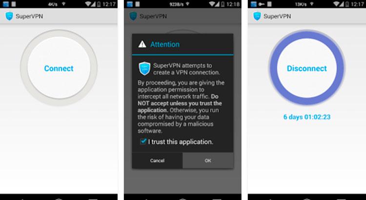Interfaz gráfica de la app SuperVPN Free VPN Client