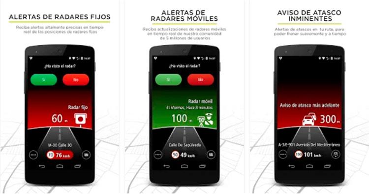 Interfaz gráfica de la app TomTom Radares de Tráfico
