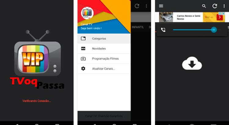 Interfaz de la app de Ver TV online vip