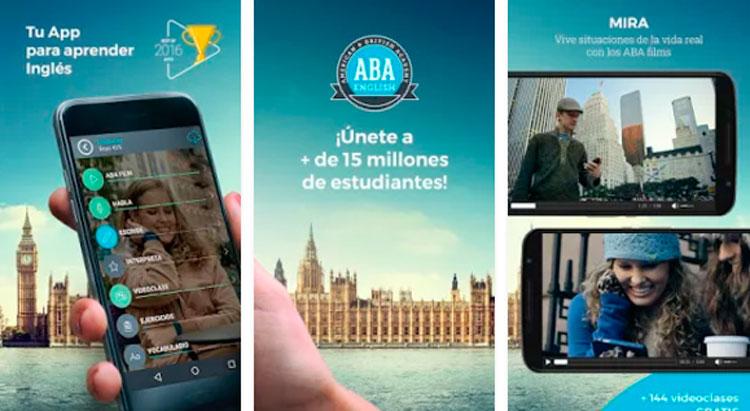 Interfaz gráfica de la app ABA English