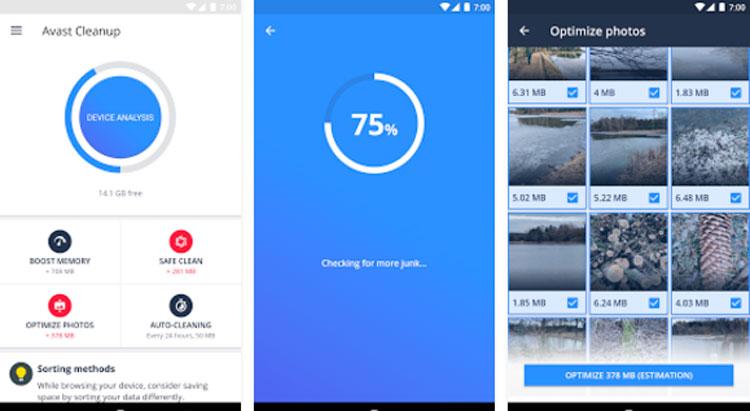 Interfaz gráfica de la app Avast Limpiador