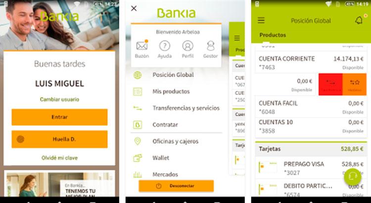 Interfaz gráfica de la app Bankia