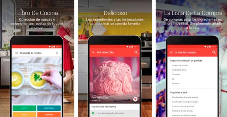 Interfaz gráfica de la app Cookbook recetas