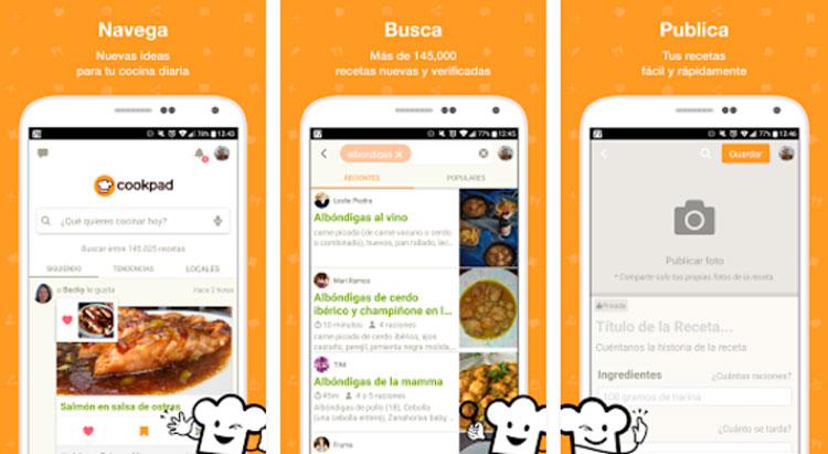Interfaz gráfica de la app Cookpad