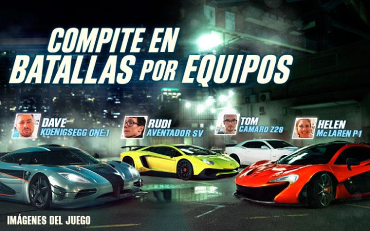 Interfaz gráfica del juego CSR Racing 2