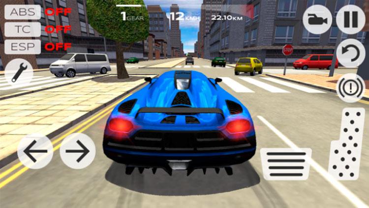 Interfaz gráfica del juego Extreme Car Driving Simulator