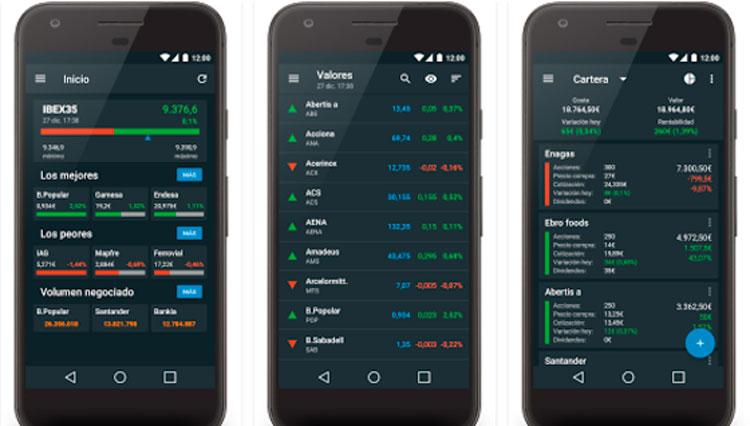Interfaz gráfica de la app La Bolsa IBEX35