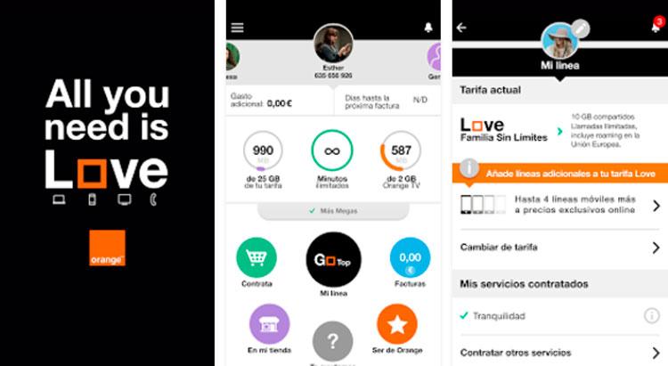 Interfaz gráfica de la app Mi Orange